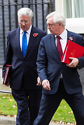 London, October 31 2017. Secretary of State for Exiting the European Union David Davis and Defence Secretary Michael Fallon leave the weekly UK cabinet meeting at Downing Street. © Paul Davey