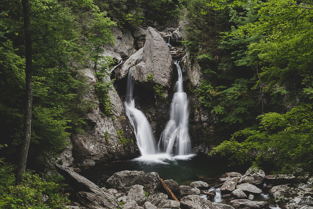 The tall and powerful twin cascades at Bash Bish Falls.