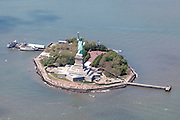 Aerial view of Statue of Liberty, New York City, NY USA