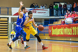 Cebular Sandi of KK Tajfun Sentjur and Jokic Petar of KK Sencur GGD during basketball match between KK Sencur  GGD and KK Tajfun Sentjur for Spar cup 2016, on 16th of February , 2016 in Sencur, Sencur Sports hall, Slovenia. Photo by Grega Valancic / Sportida.com