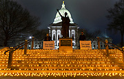 The Capitol steps are lit up with about 1,300 electric candles April 23rd to recognize those who have been hospitalized by COVID-19. (Photo © Andy Manis)