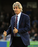 Football - 2018 / 2019 EFL Carabao Cup (League) Cup - AFC Wimbledon vs. West Ham United<br /> <br /> West ham Manager, Manuel Pellegrini gives the thumbs up to the West ham fans before kick off, at Cherry Red Records Stadium (Kingsmeadow).<br /> <br /> COLORSPORT/ANDREW COWIE