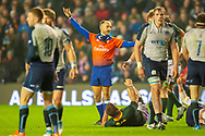 French referee Romain Poite gives a penalty to South Africa during the Autumn Test match between Scotland and South Africa at the BT Murrayfield Stadium, Edinburgh, Scotland on 17 November 2018.