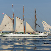 Tall ship Gazela passes Portsmouth Lighthouse in New Castle, NH on its way into the harbor at Portsmouht, NH