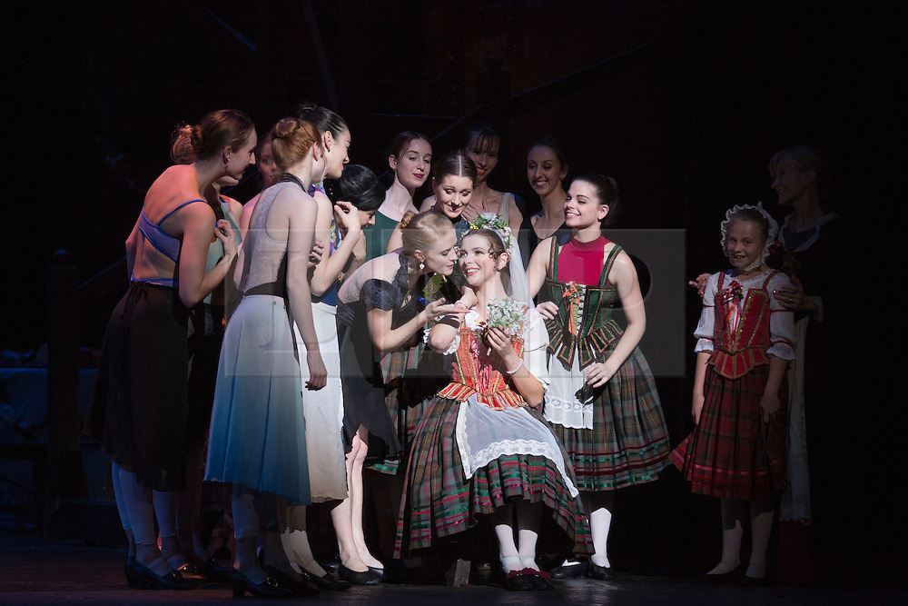 © Licensed to London News Pictures. 04/08/2015. London, UK. Sarah Thomson as Effie and Janette Mulligan as Anna. Dress rehearsal of La Sylphide (some parts in partial costume). Australia's Queensland Ballet makes its London Coliseum debut with La Sylphide, the August Bournonville ballet is choreographed by Peter Schaufuss. Performances at the Coliseum from 5 to 8 August 2015. Photo credit: Bettina Strenske/LNP