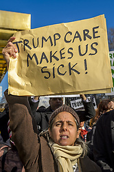 January 15, 2017 - New York, NY, United States - On January 15, hundreds of activists and allies from the newly-formed anti-Trump group Rise & Resist staged a peaceful protest at Trump International Hotel and Tower in New York City, to fight against the radical changes to the American healthcare system proposed by the Trump Administration and Republicans. (Credit Image: © Erik Mcgregor/Pacific Press via ZUMA Wire)