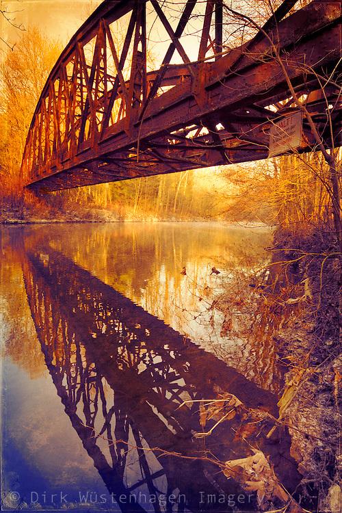 Abandoned railway bridge across river Wupper/Germany