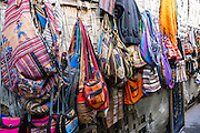 Shopping for fabric goods in Huaraz, in the Santa Valley (Callejon de Huaylas), Ancash Region, Peru, Andes Mountains, South America.