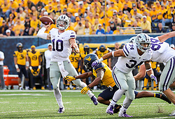 Sep 22, 2018; Morgantown, WV, USA; Kansas State Wildcats quarterback Skylar Thompson (10) throws a pass during the third quarter against the West Virginia Mountaineers at Mountaineer Field at Milan Puskar Stadium. Mandatory Credit: Ben Queen-USA TODAY Sports
