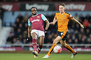 Alex Song of West Ham United is challenged by Dave Edwards of Wolverhampton Wanderers (r). The Emirates FA cup, 3rd round match, West Ham Utd v Wolverhampton Wanderers at the Boleyn Ground, Upton Park  in London on Saturday 9th January 2016.<br /> pic by John Patrick Fletcher, Andrew Orchard sports photography.