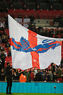 England flag standard bearer ahead of the international Friendly match between England and USA at Wembley Stadium, London, England on 15 November 2018.