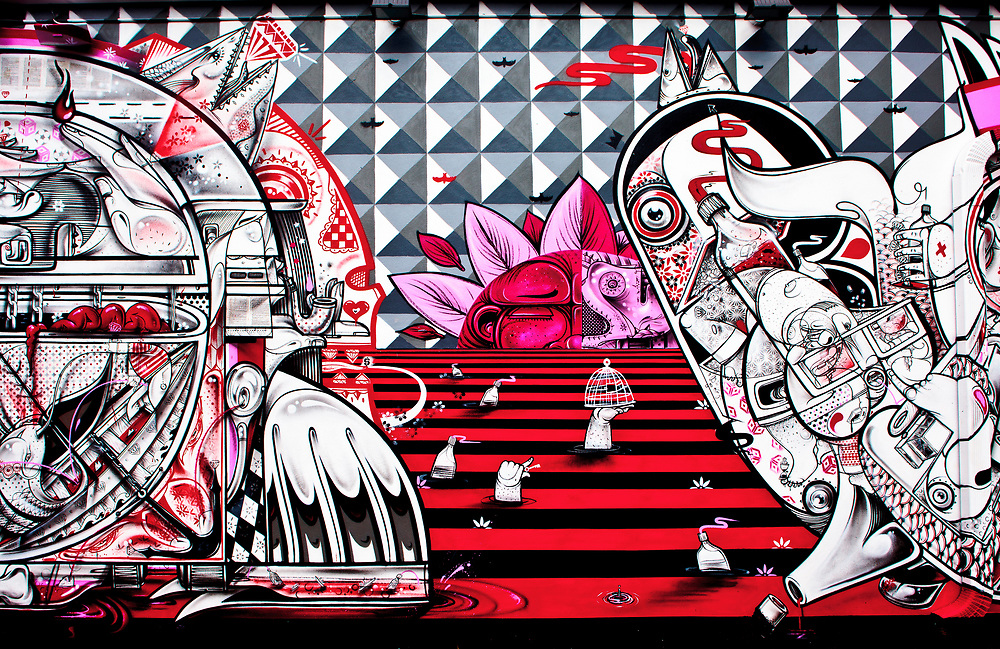A section of a surreal, science fiction-like mural at The Wynwood Walls, Miami's outdoor street art museum.<br /> <br /> The Spanish-born, Bronx-based, twin brothers Raoul and Davide Perre, aka How & Nosm, created this mural.