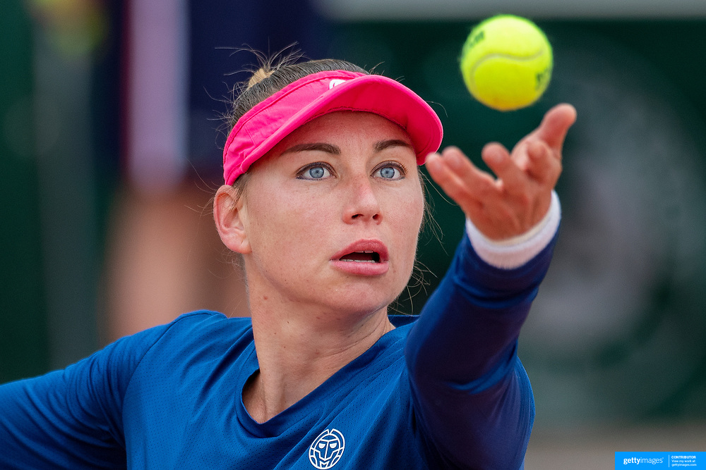 PARIS, FRANCE May 24.  Vera Zvonareva of Russia in action against Francesca Jones of Great Britain on the first day of the qualifying tournament at the 2021 French Open Tennis Tournament at Roland Garros on May 24th 2021 in Paris, France. (Photo by Tim Clayton/Corbis via Getty Images)