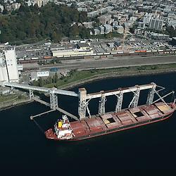 Aerial photograph of  a Grain Tanker on Elliott Bay outside Seattle