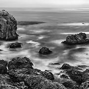 Rocky Point - Stirring Surf - Big Sur, CA - Black & White