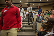 Purchase, NY – 31 October 2014. The team from Mamaroneck High School coming to the stage. The Business Skills Olympics was founded by the African American Men of Westchester, is sponsored and facilitated by Morgan Stanley, and is open to high school teams in Westchester County.