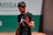 Novak Djokovic (SRB) at practice on court 5 during the Roland Garros French Tennis Open 2017, preview, on May ......, 2017, at the Roland Garros Stadium in Paris, France - Photo Stephane Allaman / ProSportsImages / DPPI