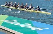 "Rio de Janeiro. BRAZIL.   GBR W8+ Silver Medalist, awards dock. 2016 Olympic Rowing Regatta. Lagoa Stadium,<br /> Copacabana,  ""Olympic Summer Games""<br /> Rodrigo de Freitas Lagoon, Lagoa.   Saturday  13/08/2016 <br /> <br /> [Mandatory Credit; Peter SPURRIER/Intersport Images]"