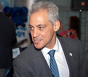 The Blue Cross Blue Shield of Illinois, City of Chicago and DIVVY Bike joint kick-off event with Chicago Mayor Rahm Emanuel speaking on behalf of being active and healthy.