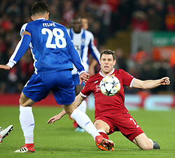 March 6, 2018 - Liverpool, U.S. - 6th March 2018, Anfield, Liverpool, England; UEFA Champions League football, round of 16, 2nd leg, Liverpool versus FC Porto; James Milner of Liverpool slides in to challenge Felipe of Porto (Photo by Dave Blunsden/Actionplus/Icon Sportswire) ****NO AGENTS---NORTH AND SOUTH AMERICA SALES ONLY****NO AGENTS---NORTH AND SOUTH AMERICA SALES ONLY* (Credit Image: © Dave Blunsden/Icon SMI via ZUMA Press)