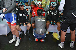 October 21, 2018 - Guilin, China - Riders chat just near the start line ahead of the six and final stage, 169km Guilin Stage, of the 2nd Cycling Tour de Guangxi 2018. .On Sunday, October 21, 2018, in, Guilin, China. (Credit Image: © Artur Widak/NurPhoto via ZUMA Press)