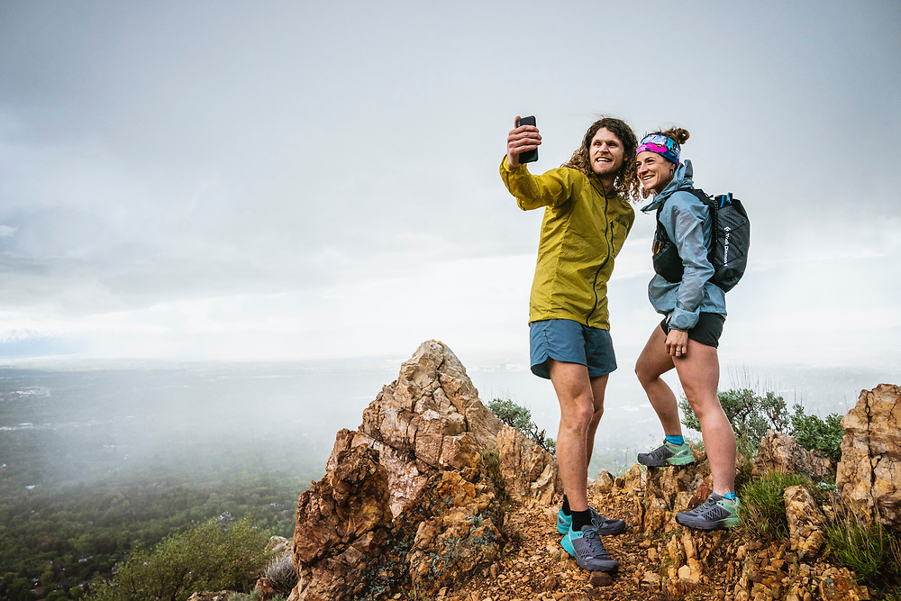 Joe Grant and Hillary caught out in the rain, Bonneville Shoreline Trail, Salt Lake City, Utah.