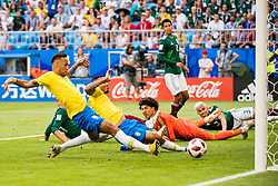 July 2, 2018 - Samara, Russia - NEYMAR of Brazil scores the 1-0 goal during the FIFA World Cup round of 16 match between Brazil and Mexico in Samara. (Credit Image: © Petter Arvidson/Bildbyran via ZUMA Press)