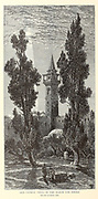 Trees at Haram Esh Sherif [Sharif] from the book Picturesque Palestine, Sinai, and Egypt By  Colonel Wilson, Charles William, Sir, 1836-1905. Published in New York by D. Appleton and Company in 1881  with engravings in steel and wood from original Drawings by Harry Fenn and J. D. Woodward Volume 1