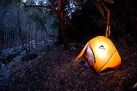 Enjoying a campfire at Sykes Hot Springs, Big Sur, California.