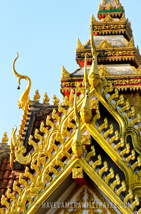 Part of the ornate five-tiered roof at Wat Si Saket in Vientiane, Laos. Built in 1818, the temple is of the Siamese style rather than the traditional Lao style. It is now perhaps the oldest temple still standing in Vientiane.