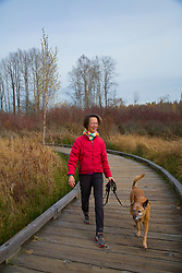 USA, Washington, Bellevue. Woman walking dog at Mercer Slough nature park.