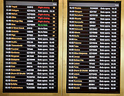Departures electronic airport information board, Gatwick airport, UK