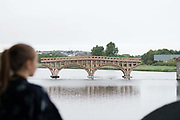 23/07/2018 Repro free: Sarah Gibbons with the bridge that people built...<br /> The People Build at Galway International Arts Festival saw not just one but two large-scale structures appear in a matter of hours built solely from cardboard. Under the guidance of French artist, Olivier Grossetete and his team, The People Build saw over 600 volunteers and members of the general public transform cardboard boxes into a church steeple and a bridge. This spectacular architectural event won the hearts of festival audiences and encouraged a sense of community where everyone could get involved. The structure built at Eyre Square was inspired by St. Nicholas' Church in Galway and the bridge at Waterside was positioned at the location of Galway's River Corrib Viaduct, once part of the famous Galway to Clifden Railway.<br /> <br /> It is estimated that almost 4 tonnes of cardboard were used across the two builds. Following the constructions, children and grown-ups alike joined forces in a massive celebratory demolition, which saw the cardboard structures come tumbling down amidst shrieks of joy and delight.<br /> <br /> Walsh Waste & Recycling have once again joined forces with Galway International Arts Festival to ensure there was no unnecessary waste following the event and were on hand to take away the crushed cardboard to be recycled. Photo:Andrew Downes, xposure