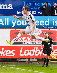 Falkirk's Aaron Muirhead celebrates after scoring their first goal. Dunfermline 1 v 2 Falkirk, Scottish Championship game played 22/4/2017 at Dunfermline's home ground, East End Park.