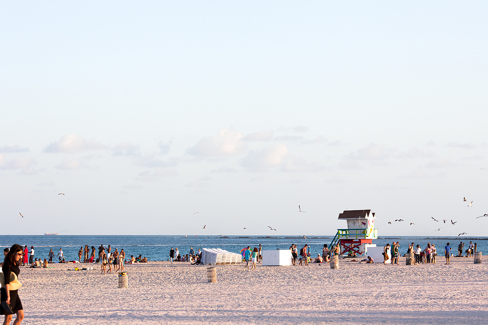 Miami Beach, Florida, United States - People enjoying the evening at South Beach.