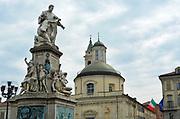 Turin, Piedmont/Italy -04/20/2019- The statue of the italian politician Camillo Cavour in the Carlo Emanuele II Square, also named Carlina.