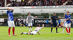 Dunfermline's Josh Falkingham goes down for their penalty. <br /> Dunfermline 7 v 1 Cowdenbeath, SPFL Ladbrokes League Division One game played 15/8/2015 at East End Park.
