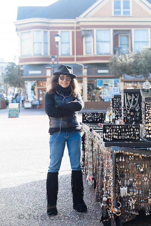 Portrait of street vendor in Eureka, CA.