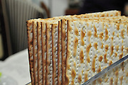 Traditional passover dinner, close up of Matzah