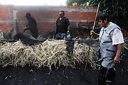 Maria Martins (R), Secundino Martins (c) and Alcides Rainho cover the wood pile with straw and then with sand, it's a old techenique to make the sharcoal stove. In the village of Pilado in the county of Marinha Grande, sharcoal production goes back to the sixth century, always executed by women, today due to unemployment, men are taking the responsability for this handicraft industry. Sharcoal is used as an alternative  power, most of all to grill.Paulo Cunha/4see