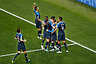 France defender Benjamin Pavard (LL) , France defender Lucas Hernandez (L) , France midfielder Blaise Matuidi , France forwarder Olivier Giroud (L) , France forwarder Antoine Griezmann (C) and France defender Raphael Varane (R) celebrating 2-1 during the 2018 FIFA World Cup Russia, final football match between France and Croatia on July 15, 2018 at Luzhniki Stadium in Moscow, Russia - Photo Stanley Gontha / Proshots / ProSportsImages / DPPI