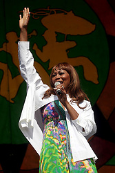 29 April 2012. New Orleans, Louisiana,  USA. <br /> New Orleans Jazz and Heritage Festival. <br /> Yolanda Adams, radio host and the no.1 gospel singer of the decade according to Billboard Magazine.<br /> Photo Credit; Charlie Varley/varleypix.com