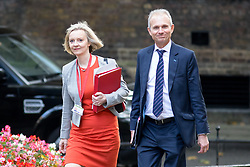 © Licensed to London News Pictures. 17/10/2017. London, UK. Chief Secretary to the Treasury Liz Truss and Justice Secretary and Lord Chancellor David Lidington arriving in Downing Street to attend a Cabinet meeting this morning. Photo credit : Tom Nicholson/LNP