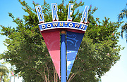 Downtown Brea Sign on Brea Boulevard Across from City Hall Park
