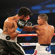 ORLANDO, FL - OCTOBER 04:  Jantony Ortiz (R) catches Gilberto Mendoza with a left during a professional super flyweight boxing match at the Bahía Shriners Auditorium & Events Center on October 4, 2014 in Orlando, Florida. Ortiz would go on to win the fight. (Photo by Alex Menendez/Getty Images) *** Local Caption *** Jantony Ortiz; Gilberto Mendoza