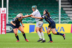 Sam Martinez Gion of Saracens Ladies is tackled by Helena Bunce of Worcester Valkyries - Mandatory by-line: Craig Thomas/JMP - 30/09/2017 - RUGBY - Sixways Stadium - Worcester, England - Worcester Valkyries v Saracens Women - Tyrrells Premier 15s