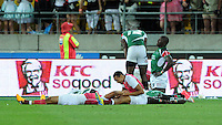 England and Kenyan players lay exhausted on the ground after the final won by England at the IRB International Rugby Sevens, Westpac, Wellington, New Zealand, Saturday, February 02, 2013. Credit:SNPA / Ross Setford