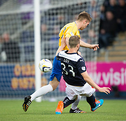 Falkirk's Rory Loy has a shot.<br /> Falkirk 6 v 0 Cowdenbeath, Scottish Championship game played at The Falkirk Stadium, 25/10/2014.