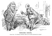 """Unpaying Guests. British Lion. """"I'm afraid, Winston, they'll be very expensive to rear."""" (Churchill comes in to the British Lion's office with Palestine and Iraq as lion cubs in the InterWar era)"""