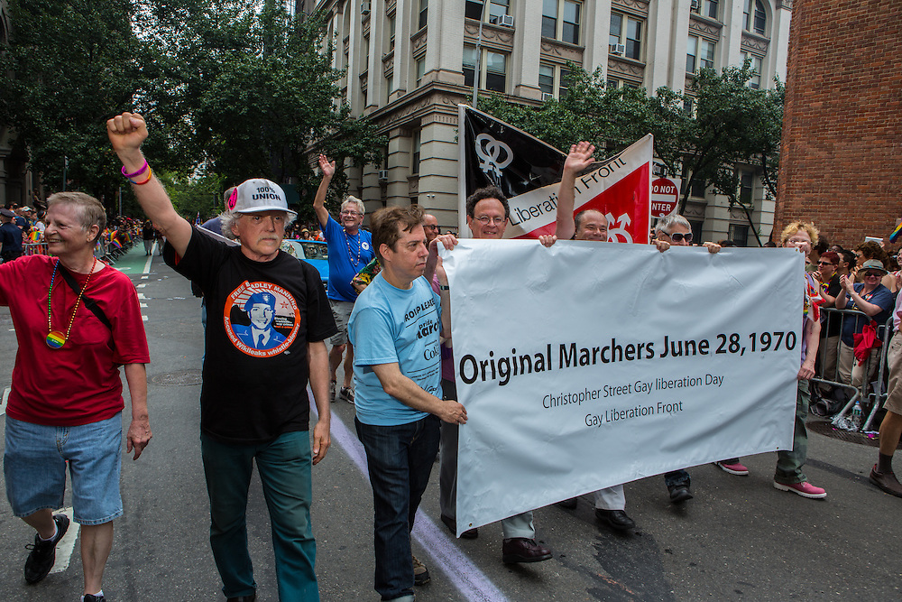 Marchers from the original Gay Liberation Day, June 28, 1970, a year after the riots at the Stonewall Inn.